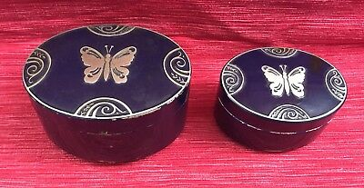 Two Blue Art Deco Lucretia Vanderbilt Butterfly Face Powder Boxes