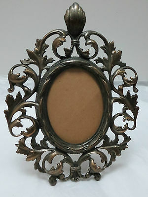 Antique Ornate Leaf Swirl Picture Frame Metal Decorative Detailed  c.1900 Lovely