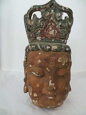 Rare 55cm Chinese Carved Wooden Head of Guanyin Ming Style - Unique Large Piece!
