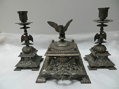 Antique Inkwell & Pair Candlesticks Eagles and Satyr Heads Ornate Set  c.1870s