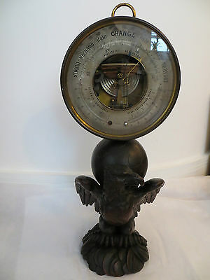 """Antique Rare Large 8"""" Brass Holosteric Barometer on Wooden Eagle Base c.1880"""