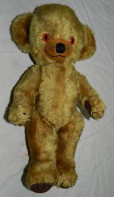 "Vintage 16"" MerryThought Cheeky Teddy Bear w/ Bells in Ears - Mohair jointed"
