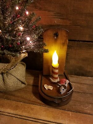 Antique~Primitive~Christmas Holiday Mouse Trap Flicker Candle Stocking Hat Mouse