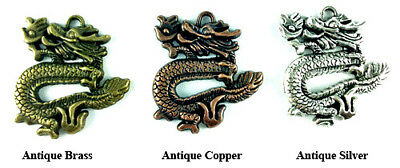 Antique Silver Copper Brass Plated 39x35mm Eastern Asian Dragon Pendants Q4