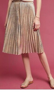 ed5c6779e Anthropologie Maeve NWT Pleated Metallic Knee Lenghth Skirt size M Rare