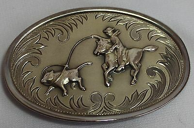 Nice Silver Tone, Belt Buckle With Cowboy Roping Steer, Guc!