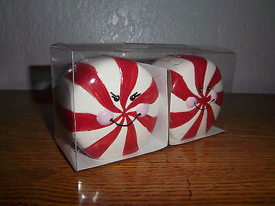 Salt & Pepper Shakers Glass Red White Peppermint Candy Shaped Ceramic Figurines