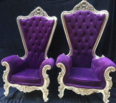 Two Incredibly Special French Baroque Chairs with High Backs