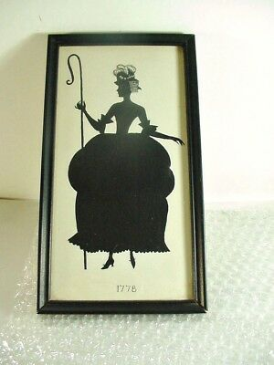 LOT #9: ANTIQUE FRAMED SILHOUETTE VICTORIAN or EARLIER LADY DRESS 1778: 10""