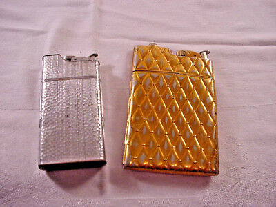 Evans Vintage Lighter Cigarette Case Gold Tone Silver Tone Lot of Two 2