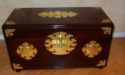 """Authentic 1970's Chinese Red Lacquer Trunk/Chest Brass Hardware 24"""" x 12"""" x 13"""""""