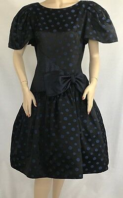 ICONIC 80's Vintage Lillie Rubin Black & Blue Polka Dot Bow Dress Sz.10 MUST SEE