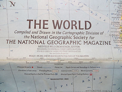"""Vintage 1965 National Geographic Map - The World - 29"""" x 42"""""""