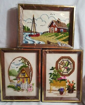"3 Completed Sunset Designs Crewel Needlework Framed 5"" x 7"" B27"