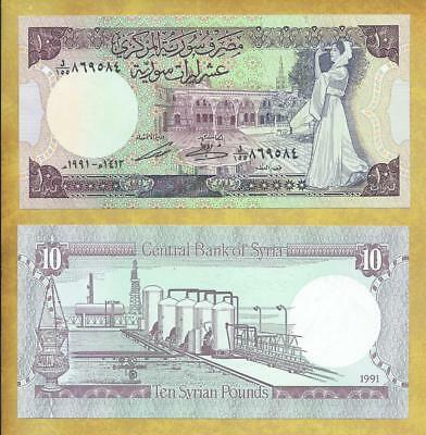 Syria 10 Pounds 1991 P-101e Unc Currency Banknote ***USA SELLER***