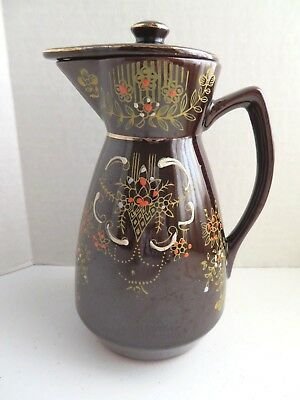Vintage Japanese Redware Ceramic Brown Pitcher Teapot with Lid & Painted Florals