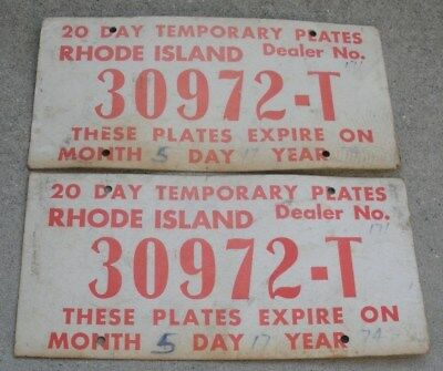 "Pair 1974, Rhode Island, 20 Day Temporary Cardboard License Plates ""30972-T"""