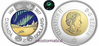 Celebrate Canada's 150th $2 Northern Lights Coin / Glow in The Dark BU From Roll