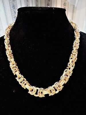 "Vicenza Silver Sterling 20"" Bold ""CHUNKY"" Graduated Byzantine Necklace 83.0g NWT"