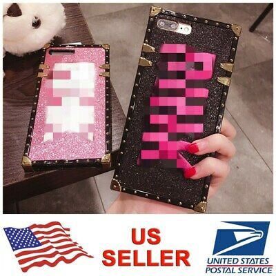 Square Embroidery Bling Glitter Back Case Cover For iPhone XS Max XR 8 7 6s Plus