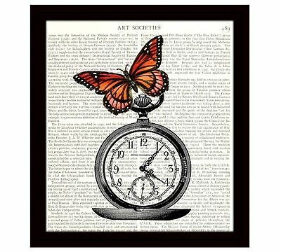 Dictionary Art Print Book Page 8x10 Collage Butterfly on Pocket Watch Home Decor