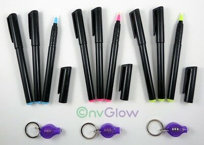 9 Invisible Ink Marker 3 UV Flashlight Black Light Reactive Pen Red Blue Yellow