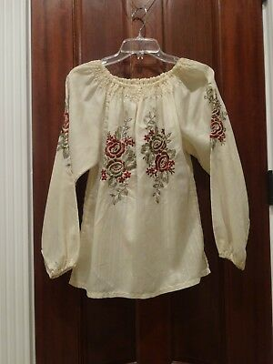 vintage peasant blouse with burgundy and gold metallic floral embroidery - Med