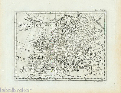 Antique Print Vintage 1797 Original Copper Plate Map Of Europe 18Th Century