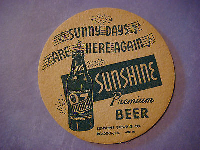 BEER COASTER: SUNSHINE Brewing Sunny Days Are Here Again ~ Reading, PENNSYLVANIA
