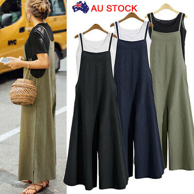 Women Loose Plus Size Overalls Jumpsuit Bib Dungarees Wide Leg Pants Playsuit AU