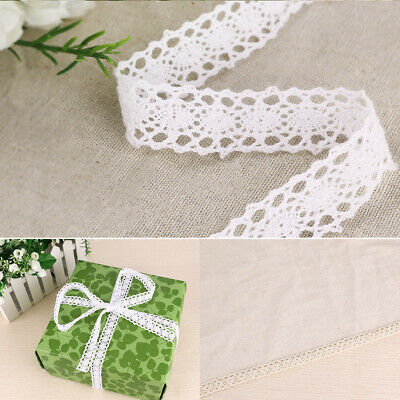 10M Antique Style Cotton Fabric Embroidery Crochet Lace Trim Doll Dress White
