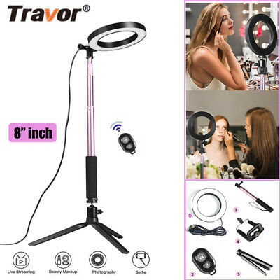 "8"" Dimmable LED Ring Light Photography Photo Studio Lamp For Smartphone+Tripod"
