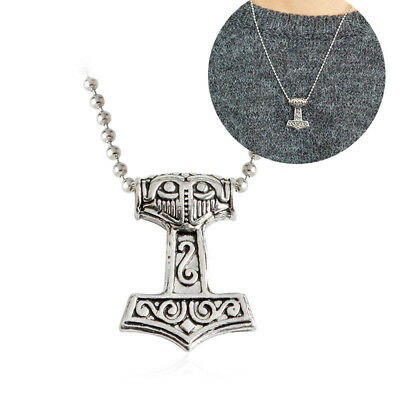 Viking Thor's Hammer Mjolnir Necklace Pendant Silver Leather Chain Nordic1 Piece