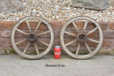 2x vintage old wooden cart wagon wheels wheel - 40 cm - FREE DELIVERY