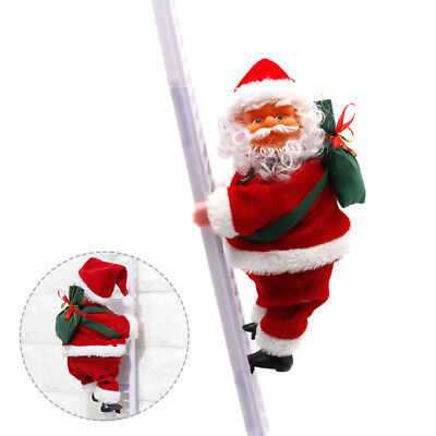 Santa Claus Christmas Figurine Ornament Decors Gift Musical Climbing Ladder