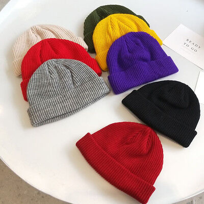 Unisex Men Women Beanie Hat Warm Ribbed Winter Turn Ski Fisherman Docker Hat