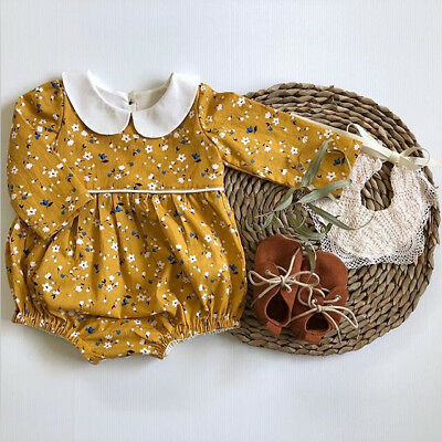 Canis Newborn Baby Girl Cotton Floral Doll Collar Romper Bodysuit Outfit Clothes