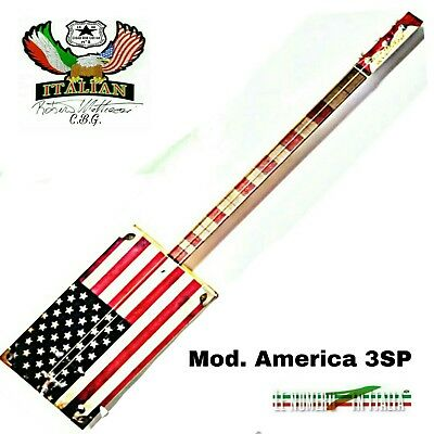 Cigar Box Guitar mod. America, 3 corde, pick-up piezoelettrico tastiera slide.