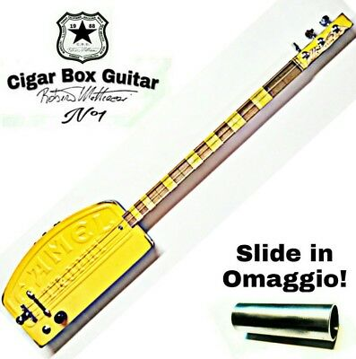 Camel Trophy Cigar box Guitar ,3 corde, pick-up piezoelettrico tasti medium.