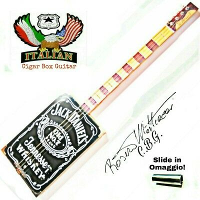 Cigar Box Guitar mod. Jack Daniel, 4 corde, pick-up piezoelettrico tasti medium.