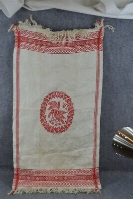 linen damask towel 1800 red white  old stock center birds unusual 1800 antique