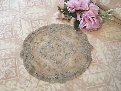 Antique French Tambour Lace Table Doily Cotton Netting Floral Needlework A131