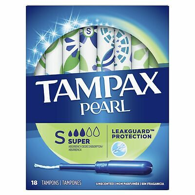 Tampax Pearl Plastic, Super Absorbency, Unscented Tampons, 18 Count
