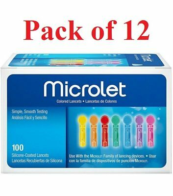 Bayer Microlet Colored Lancets Silicone-Coated Sterile 100 Each (Pack of 12)