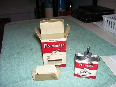 Vintage Flo-Master T-102 Black Ink Lead Top Oiler Tin With Box Nice! Look!