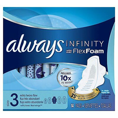 Always Infinity Size 3 Feminine Pads with Wings, Extra Heavy Flow Absorbency,...