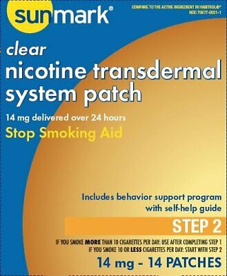 Nicotine Transdermal System Step 2 Sunmark, 14 mg Patches 14 Count, 6 Pack