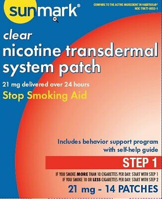 Nicotine Transdermal System Step 1 Sunmark, 21 mg Patches 14 Count, 4 Pack