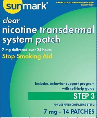 Nicotine Transdermal System Step 3 Sunmark, 7 mg Patches 14 Count, 5 Pack