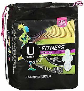 U by Kotex Fitness Ultra Thin Pads with Wings Heavy Flow - 8 packs of 13 ct,...